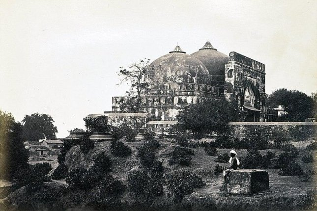 TheBabri Masjid mosque is seen in Ayodhya, India, in the mid-19th century. The mosque was destroyed by rioters in 1992 opposed to the landmark sitting on disputed land. Photo bySamuel Bourne/Wikipedia/UPI