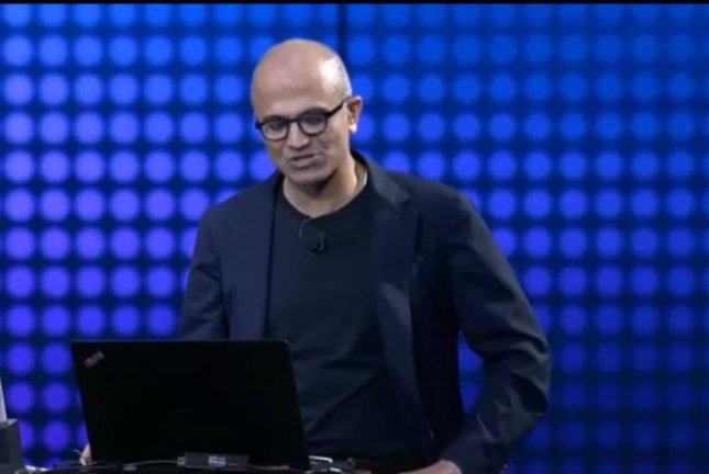 Microsoft CEO Satya Nadella is flustered by virtual personal assistant Cortana's inability to understand his voice command. ExpoVistaTV/YouTube video screenshot