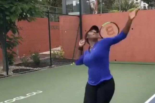 Tennis star Serena Williams shows off her serve during a training session Friday. Photo courtesy of Serena Williams/Instagram.