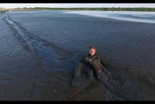Wildlife photographer Krzysztof Chomicz rescues a white eagle stranded in thick coastal mud in Poland. Screenshot: Storyful