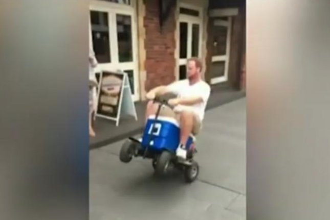An Australia Day joyride on a motorized cooler led to a New South Wales man pleading guilty to a drunk driving charge. Screenshot: 7 News Australia