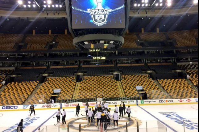 Th Bruins get in their morning skate-around before Monday's Game 3 at home against the Senators. Photo courtesy Boston Bruins via Twitter
