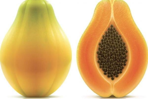 The CDC said yellow Maradol papayas at the center of a salmonella outbreak weigh 3 or more pounds, and have green skins that turn yellow when ripe and salmon-colored flesh. Photo courtesy the CDC