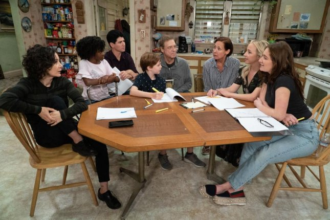 The cast of The Conners had its first table read on the set of the show Friday. Photo courtesy of ABC