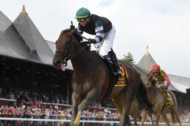 Diversify, seen winning the Grade I Whitney at Saratoga, is the odds-on favorite for the Grade I Jockey Club Gold Cup at Belmont Park Sept. 29 against the likes of Mendelssohn and Thunder Snow. (NYRA photo)