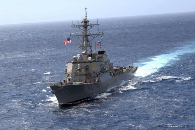 "The guided-missile destroyer USS Barry, shown here in the Atlantic in 2008, was accused of ""intruding intruding into Chinese territory waters"" and expelled from the Paracel Island chain in the South China Sea on Tuesday. Photo by Troy Miller"