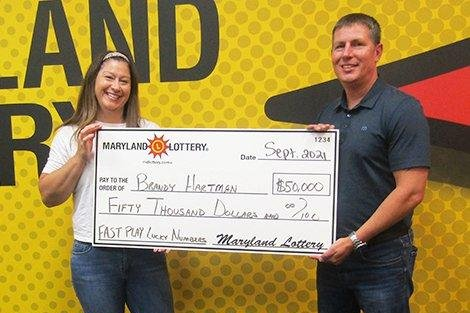 Brandy Hartman of Aberdeen, Md., said a stop for gas and her payday tradition of playing lottery games led to her winning $50,000. Photo courtesy of the Maryland Lottery