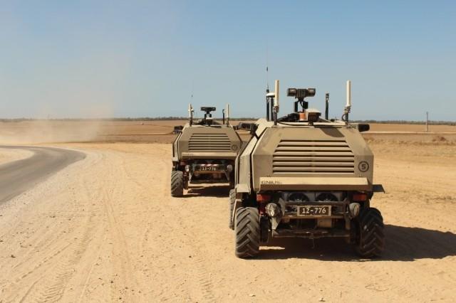 Israeli unmanned vehicles patrol a border area. (Israel Defense Force photo)