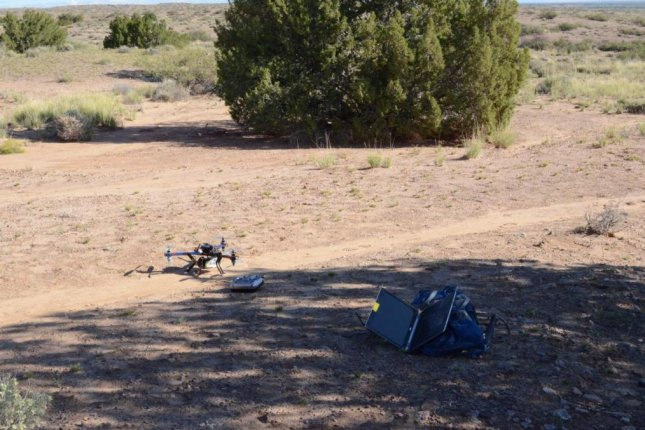 Researchers used a drone and basic camera to plot vegetation structure among dryland in New Mexico. Photo by Andrew Cunliffe/Exeter