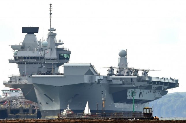 The British Royal Navy's HMS Queen Elizabeth could be deployed to the South China Sea, according to reports. File Photo by Gerry Penny/EPA-EFE