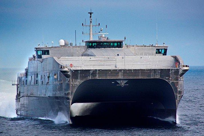 A Spearhead-class Expeditionary Fast Transport Ship, similar to the USNS Burlington. Photo courtesy of the U.S. Navy.