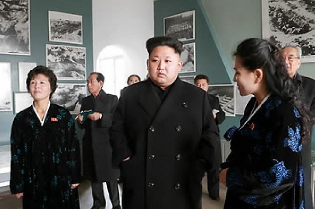 Kim Jong Un visiting the Sinchon Museum of American War Atrocities in November. The museum has exhibits and propaganda that Pyongyang claims is evidence of U.S. military culpability for the death of 35,000 Korean civilians. File Photo by Rodong Sinmun/Yonhap