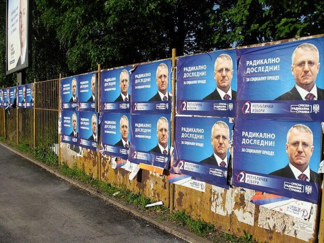 Posters in Novi Sad, Serbia, support former Serbian Nationalist Party leader Vojislav Seselj in this 2012 photo. Seselj was acquitted Thursday of crimes against humanity by the International Criminal Tribunal for the Former Yugoslavia in The Hague, Netherlands. Photo by Micki/Wikimedia