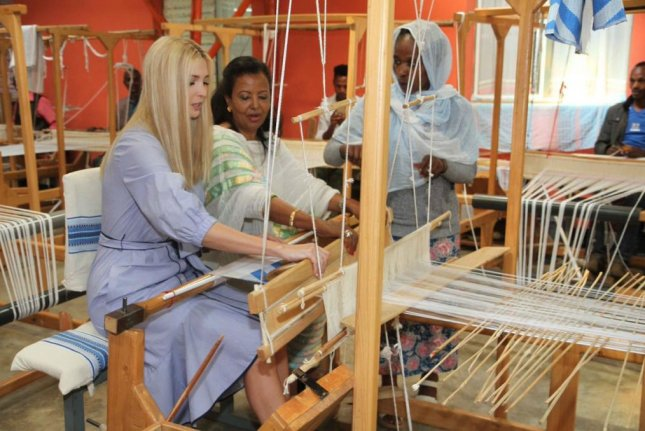 White House adviser Ivanka Trump visits a female-run factory Monday in Ethiopia, where she's promoting a U.S. initiative for female empowerment. Photo courtesy Ivanka Trump/Twitter