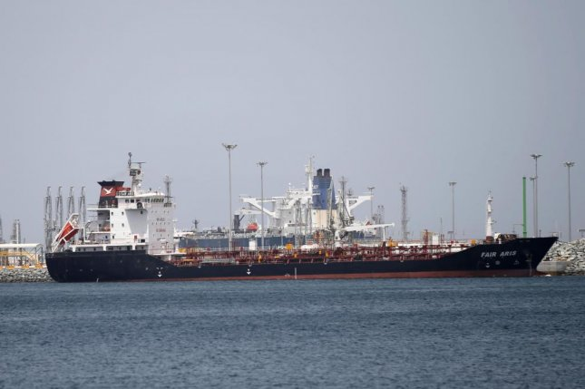 Ships are seen Monday anchored at the main port of Fujairah, United Arab Emirates, after officials said multiple vessels were sabotaged. Photo by Ali Haider/EPA-EFE
