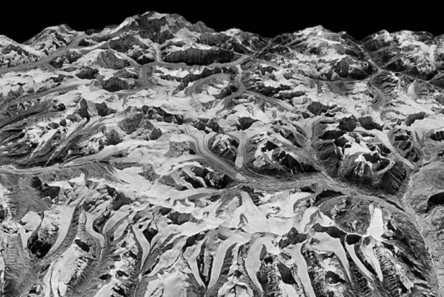 The Himalayas on the border of Sikkim, India and eastern Nepal, as seen by the KH-9 HEXAGON spy satellite in December 1975. Photo by National Reconnaissance Office/U.S. Geological Survey