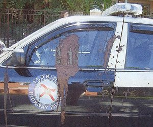 Fla. trooper's patrol car covered in feces