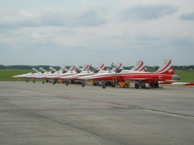 F-5 Tiger jets of the Swiss Air Force's acrobatic team.