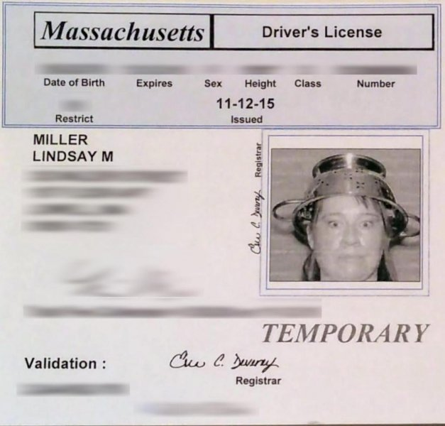 The Massachusetts Registry of Motor Vehicles allowed Lindsay Miller, a self-described Pastafarian, to wear a pasta colander on her head in her driver's license picture. Photo courtesy of the American Humanist Association