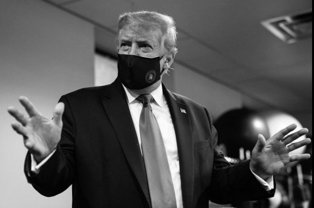 Saying it was 'patriotic' to wear mask, U.S. President Donald Trump on Monday tweeted a photo of himself wearing a face covering. Photo courtesy of Donald J. Trump Twitter account.