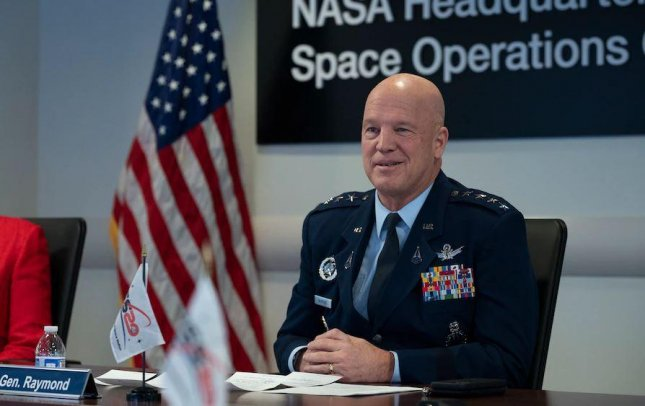 U.S. Space Force Chief of Space Operations Gen. John Raymond, seen at NASA headquarters in December, said Wednesday that space is a national security issue -- and in need of rules and protocols. Photo by Joel Kowsky/USSF