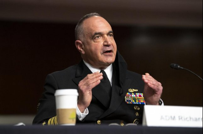 Navy Adm. Charles A. Richard, the commander of U.S. Strategic Command, discusses threats to the U.S. from China and Russia and the Defense Department's steps at providing a credible deterrent at a Senate Armed Services Committee budget hearing Tuesday. Photo byEJ Hersom/Department of Defense