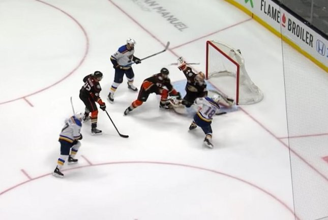 St. Louis Blues forward Ryan Thomas (R) roofs a shot for a goal against the Anaheim Ducks on Wednesday night. Photo courtesy of NHL/YouTube