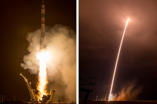Year-long space station mission departs from Earth on Soyuz craft. Photo by NASA