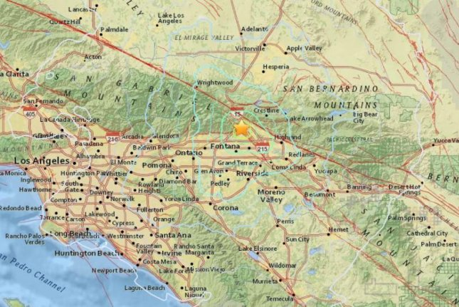 A map by the U.S. Geological Survey shows the impact of a 4.8 magnitude earthquake that struck about 50 miles east of downtown Los Angeles on Tuesday afternoon. A 4.9 magnitude quake struck off the coast of northern California about 15 minutes earlier. Map by U.S. Geological Survey