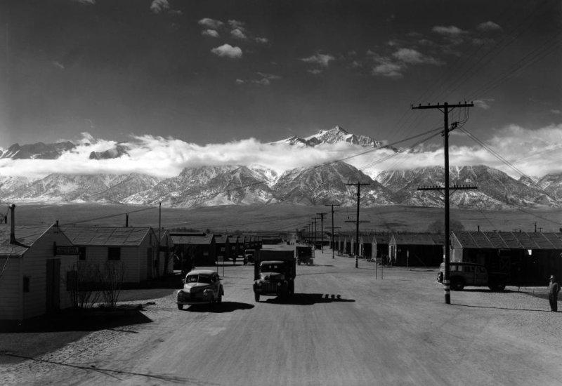 Manzanar street scene, spring, Manzanar Relocation Center in Inyo County, California. Photo by Ansel Adams/Library of Congress