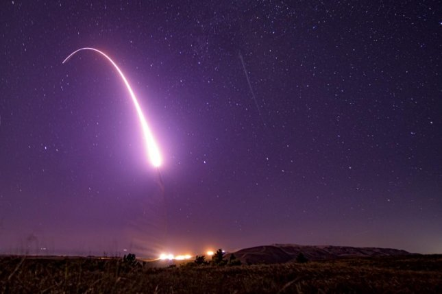 An unarmed Minuteman III intercontinental ballistic missile launches during an operational test at 1:13 a.m. Pacific Time, Oct. 2, 2019, at Vandenberg Air Force Base, Calif. Photo by J.T. Armstrong/U.S. Air Force