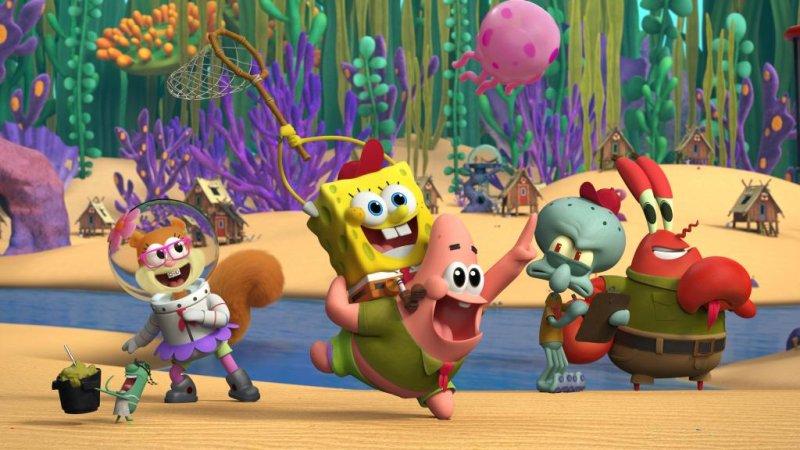 Left to right, Plankton, Sandy, SpongeBob, Patrick, Squidward and Mr. Krabs from Nickelodeon's Kamp Koral: SpongeBob's Under Years. Image courtesy of Nickelodeon