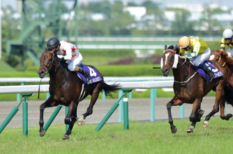 Mikki Rocket holds on to defeat Hong Kong raider Werther in Sunday's Grade I Takarazuka Kinen at Hanshin Racecourse. Photo courtesy of Japan Racing Association