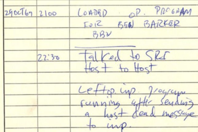 The first ARPANET IMP log. The initials CSK in the log stand for Charles S. Kline, a student programmer at UCLA who was the first person to log in to a remote host via the military system. Image courtesy of UCLA