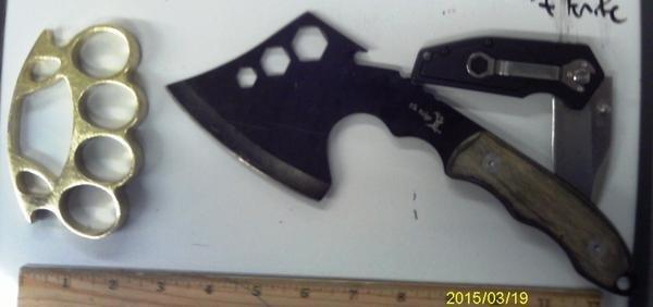 TSA finds hatchet, knife, brass knuckles in carry-on bag