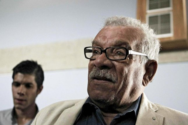 A file picture from 2012 shows the poet Derek Walcott, who won the 1992 Nobel Prize for Literature. Walcott died Friday at the age of 87. File photo by Jeffrey Arguedas/EPA