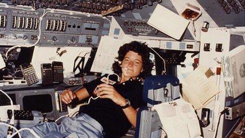 Sally Ride aboard the space shuttle. Credit: NASA