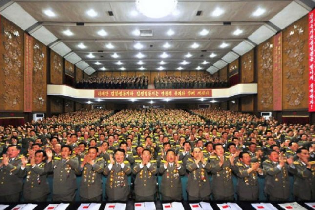 North Korean military officials commemorate the selection of Kim Jong Un as a representative of the army and various ministries April 24. Photo by KCNA