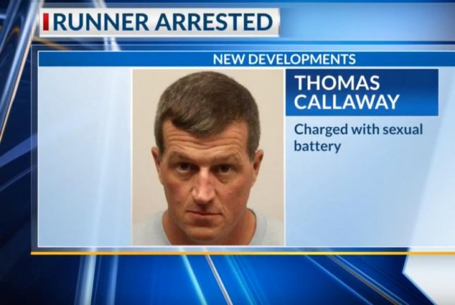 Thomas Callaway, the Georgia runner seen slapping a reporter on camera from behind in a Dec. 7 video, was arrested Friday on a charge of sexual battery. Image courtesy of WSAV3/YouTube