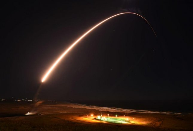 An unarmed Minuteman III intercontinental missile was launched from Vandenberg Air Force Base, Calif., on Feb. 23, and hit its target 4,200 miles away. Photo by Chris Okula/U.S. Space Force
