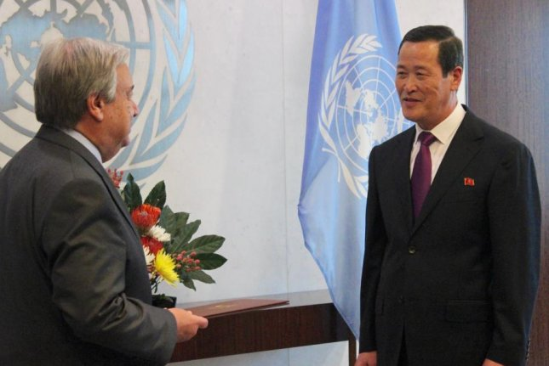Ambassador Kim Song (R) presents his credentials to U.N. Secretary-General Antonio Guterres on Thursday at U.N. headquarters in New York. Photo by Elizabeth Shim/UPI