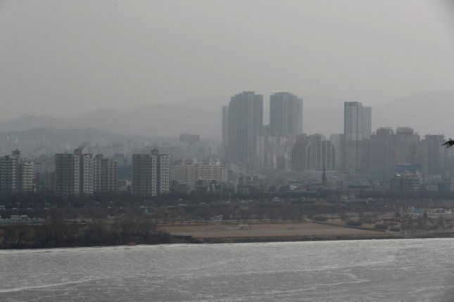 Seoul's southern Gangnam area is seen shrouded in thick haze, with the density of ultra-fine dust in the capital measured at a bad level. Photo by Yonhap/EPA-EFE