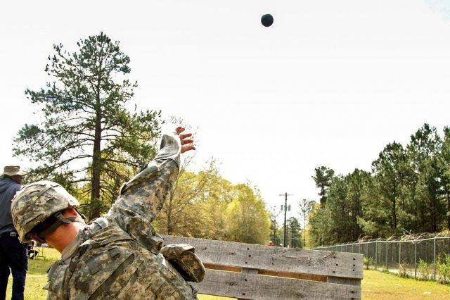 A soldier throws a prototype, inert grenade. U.S. Army photo by Herbert Wortmann