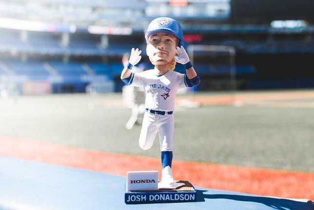 Josh Donaldson broke his streak of going hitless on his bobblehead day with a key home run to lead the Blue Jays past the Yankees. Photo courtesy Toronto Blue Jays/Twitter