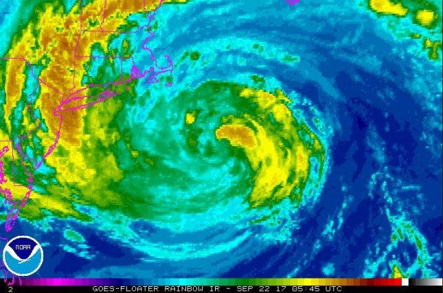 Tropical Storm Jose was largely stationary southeast of Massachusetts on Thursday and was expected to meander away from the coast over the weekend. Image courtesy of NOAA