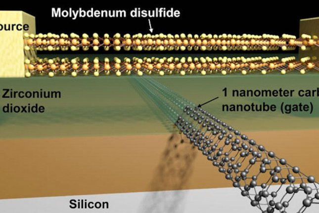 The world's smallest transistor is made of a molybdenum disulfide channel and 1-nanometer carbon nanotube gate. Photo by Sujay Desai/UC Berkeley