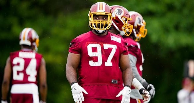 Former Washington Redskins lineman Terrell McClain is reportedly scheduled to meet with the Dallas Cowboys, another of his former teams. Photo courtesy of the Washington Redskins/Twitter