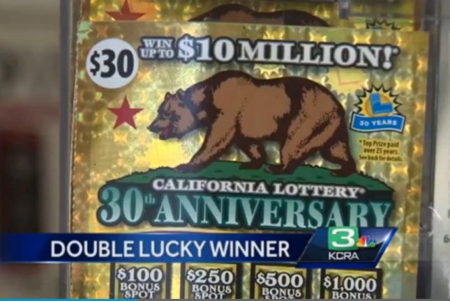 Rodney Meadows won $10 million on a California Lottery 30th anniversary scratch-off ticket mere minutes after winning $1,000 on a similar ticket. KCRA-TV video screenshot