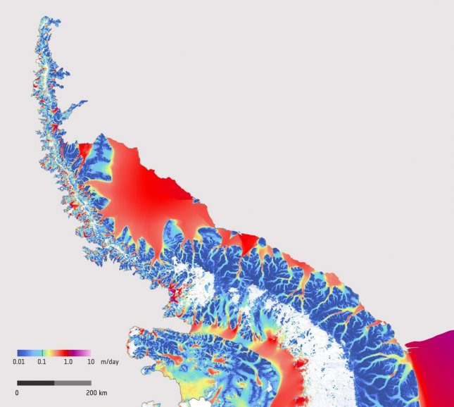 Satellite data helped scientists build a map of ice flow velocities on the Antarctic Peninsula. Photo by ESA/Copernicus Sentinel/Enveo
