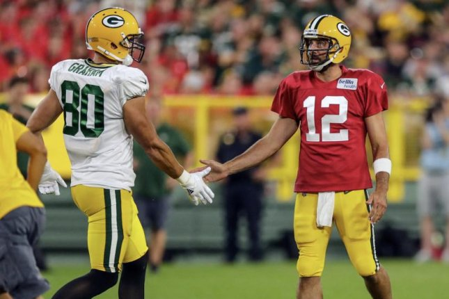 Green Bay Packers tight end Jimmy Graham and quarterback Aaron Rodgers. Photo courtesy of the Green Bay Packers/Twitter